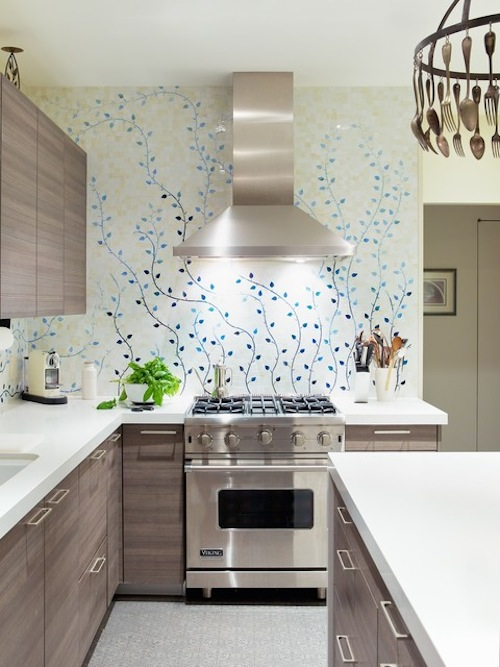 Blue Fl Wallpaper Idea For Kitchen Backsplash L Shaped Counter With White Surface And Built