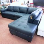 Blue navy leather sectional in L shaped