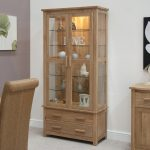 Bright Lighting Of Wooden Cabinet With Glass Door