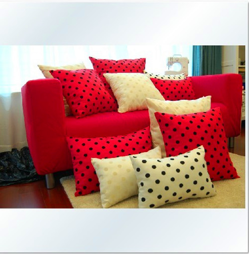 Bright Red And Cream Throw Pillows With Polka Dots Pattern