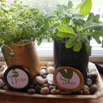 Brown And Black Pot Kitchen Herb With Names On Stone Plate