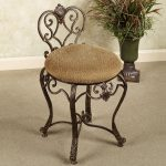 Brown Chair Iron Vanity Stool With Antique Design