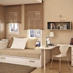 Brown Theme Of Small Bedroom With White Bed And Its Storage Brown Rug Shader On Windows And Simple Table