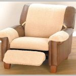 Brown leather recliner design with footboard and recliner slipcover in lighter brown color