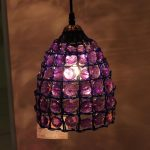 Chandelier WIth Purple Shade Cover