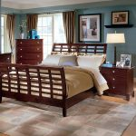 Cherry wood sleigh bed frame with headboard and footboard