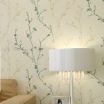 Classic-Flock-Textured-Wallpaper-Embosser-Solid-Tree-Leaf-Wall-Paper-Roll-fits-for-living-room-kids-room-work-room-also-near-white-table-lamp-and-photo-near-beige-sofa