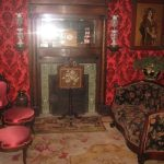 Classic Victorian Living Room Ideas With Red Wallpaper And Chairs Decorative Floor And Old Fireplace Style