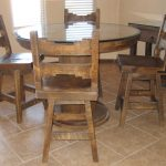 Classic Wooden Dinette Set Of Dining Room With Round Glass Table And 4 Chairs