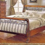 Classic sleigh bed furniture made from cherry wood