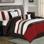 Colorful Bed Sheet With Brown Bed Frame And Cabinet Hardwood Floor With Grey Rug