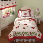 Colorful White And Red Bedding Color On Curtains Pillows Bed And White Chair