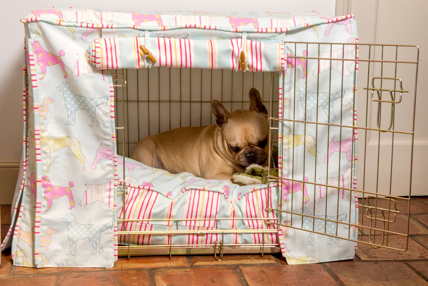 Colorful Fabric Cover For A Dog Crate