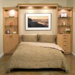 Comfy and luxurious bed folding designed by Murphy with unfinished wooden storage system