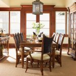 Contemporary Wooden Dining Room Set And Unique Chandelier With Beams Frame