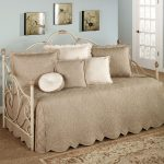 Cozy And Elegant Beige Bedding For White Coated Metal Daybed White And Beige Decorative Pillows