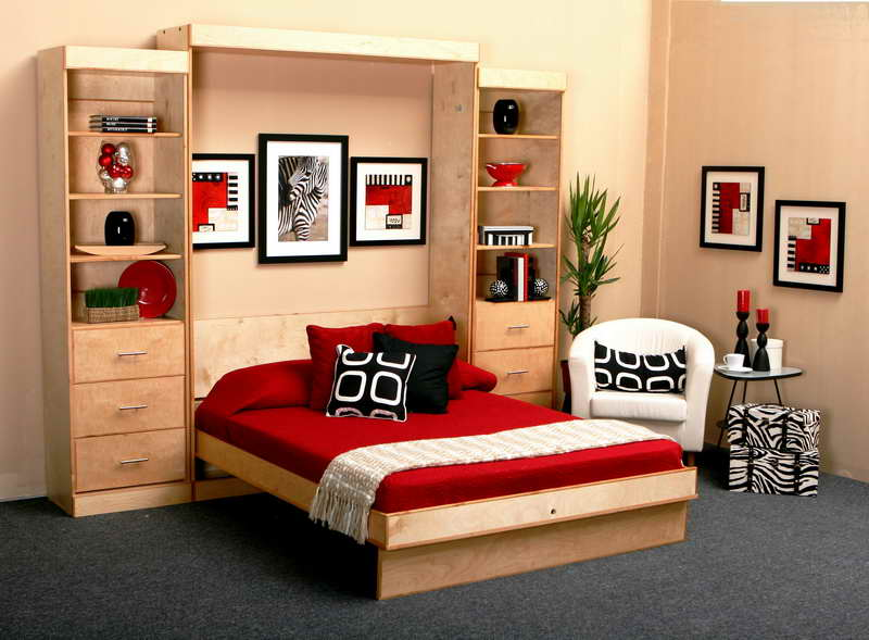 Cozy Folded Bed Furniture Integrated With Large Wooden Storage Unit Red Bedding Pillows Black Pillow
