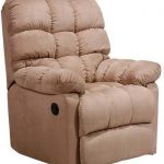 Cozy upholstered wall hugger recliner in light cream