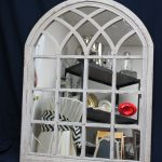 Cream Arched Window Pane With Mirror