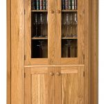 Cream Wooden Corner Cabinet With Glass Door