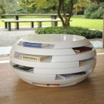 Creative white round table with bookshelves underneath