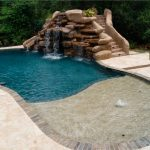 Custome Pool With Rocks Waterfall And Stairs
