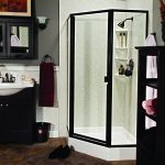 Dark Brown And Black Bathroom With Shower Shelfs And Cabinets