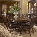 Dark Brown Color Design Wooden Dining Room Table Chairs Set With Flowers And Big Hutch
