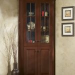 Dark Brown Laminated Wooden Cabinet With Glass Door
