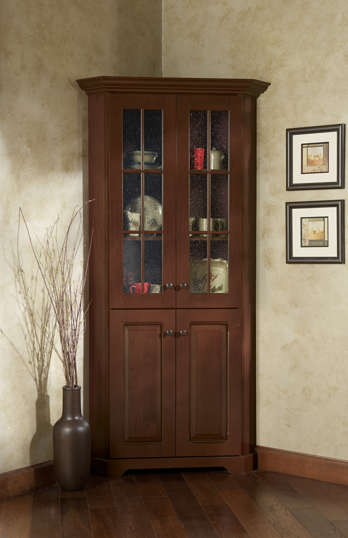 Dark Brown Laminated Wooden Cabinet With Gl Door