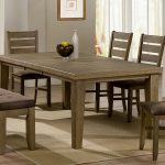 Darker brown coated dining chairs table and upholstered bench jute rug for dining room