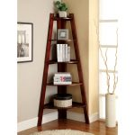 Darker stained wood leaning ladder shelf  for corner space