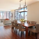Dining Room With Rectangular Wooden Table Grey Chairs Cool Chandelier Near White Sofas Of Living Room