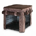 Dog Crate With Decorative Brown Cover