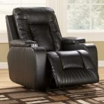 Elegant and classy black leather recliner in big size with wider footrest idea