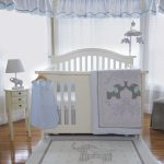 Elephant Theme Bedding For Baby Bed On Rug Curtain And Lamp