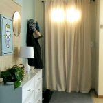 Entrance Way With White Curtain For Door Near White Cabinet Lamp And Plant Frame And Mirror Decor Grey Rug On Floor