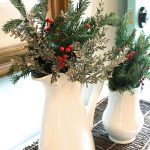 Evergreen pitcher Christmas centerpiece idea