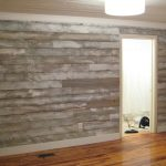 Faux Wood Wall Covering With Grey Color