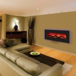 Fireplace Modern Wall Mount Electric WIth Big Sofa Long Table Fur RUg Wooden Cabinet And Stylish Lamp