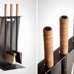 Fireplace stick holder idea made from black stained metal