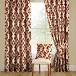 Floor to top mid century curtain idea with modern pattern a simple chair with white cushion and patterned backrest feature