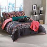 Flower Red And Black Bed Sheet On Blanket And Pillows In Grey Bedroom