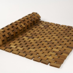 Folding wood shower mat