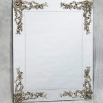 Frameless square mirror with classic craftsman decoration