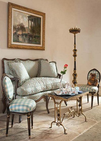 French Themed Room Decor Idea With Styled Chairs And Table Gold Toned Metal Structure