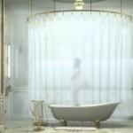 Giant Circular Rod Idea For Shower Curtain Ceiling Showerhead White Bathtub With Clawfeet