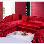 Glamorous brightly red sectional slipcover idea red pillows small white shaggy area rug