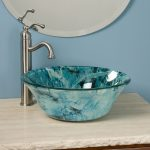 Gorgeous vessel sink in blue with faucet