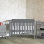 Grey Babt Crib With Grey Cabinet And Grey Shelf Stylish Wallpaper Wood Floor